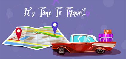 Road trip with map. Vacation elements. It's Time to Travel text. Cartoon design vector illustration.