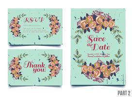 Carta di tendenza con rose per matrimoni, salva l'invito per la data, RSVP e biglietti di ringraziamento.