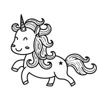 Cute cartoon unicorn doodles.Outline line art cartoon vector illustration.