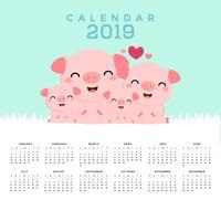 Calendario 2019 con lindos cerdos.