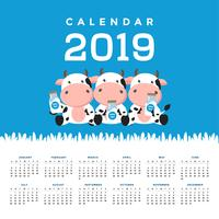 Calendar 2019 with cute cows.