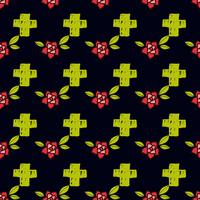 Crosses and flowers in an old-style tattoo. The day of the Dead. A seamless pattern on a black background.