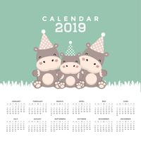 Calendar 2019 with cute hippopotamus.