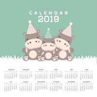 Calendar 2019 com hipopótamo bonito.