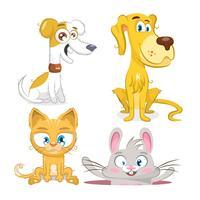 Conjunto de animais, cachorro, coelho e gato