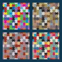 Puzzle seamless set vector