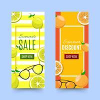 Discount Sommer Banner mit Ananas und Zitronen