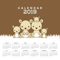 Calendar 2019 with cute kangaroos.