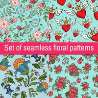Set Vintage fashionable vector seamless patterns