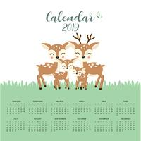 Calendar 2019 with cute deer family.