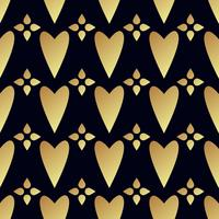Seamless vector gold pattern with hearts. Vector illustration