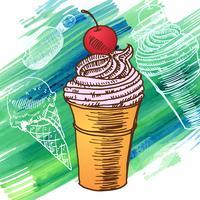 Doodle glass frusen efterrätt stil skiss