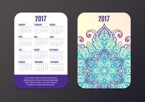 Pocket Calendar 2017. Modello vettoriale di disegno di Mandala