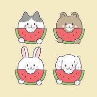 Tecknad gullig sommar katt och vattenmelon vektor.