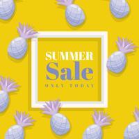 Bannière d'été avec fond d'ananas