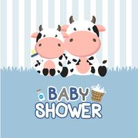 Baby Shower greeting card with little cow.