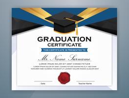Middelbare school Diploma certificaatsjabloon ontwerp met afgestudeerde cap