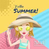 Banner de férias de verão com as mulheres