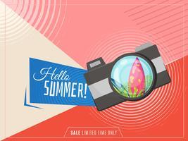 Hej sommar banner med kamera