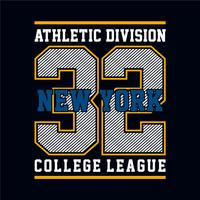 Grafica t-shirt di New York, design emblema sportivo