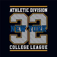 Grafica t-shirt di New York, design emblema sportivo