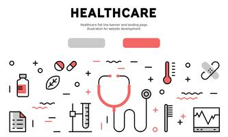 Banner de linha plana de saúde e página de destino. Ilustração para desenvolvimento de sites