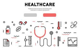 Healthcare flat line banner and landing page. Illustration for website development