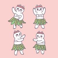Cartoon cute summer cat dancing vector.