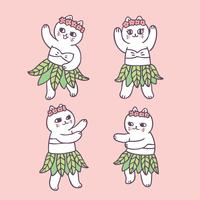 Cartoon cute summer cat dancing vector. vector