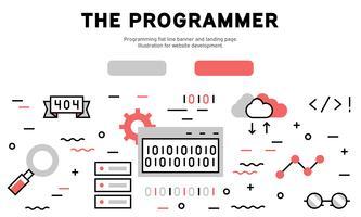 Programación de banner de línea plana y landing page. Ilustración para el desarrollo del sitio web.