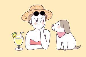 Cartoon cute summer woman and dog vector.