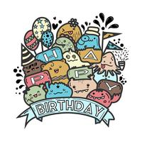 Cute monster doodle vector for happy birthday card.