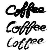 Satz der Kaffeehandschriftbürste. Inschrift isoliert auf weißem Hintergrund.