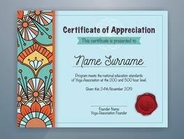 Cyan Mandala Bordered Certificate of Appreciation Template Design