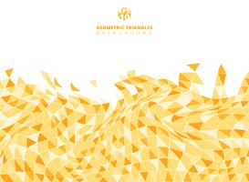 Abstract yellow geometric triangle structure distorted background and texture with copy space.