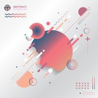 Abstract geometric creative with lines, circle, wave, wavy, on white background.