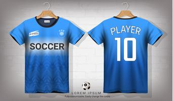 Soccer jersey and t-shirt sport mockup template, Graphic design for football kit or activewear uniforms.
