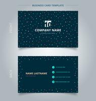 Creative business card and name card template simple geometric triangles, squares, circles colorful on dark background.