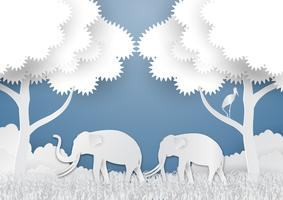 Paper art style of Landscape with elephant and tree In nature ecology idea abstract background, vector illustration