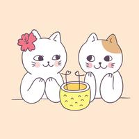 Cartoon cute summer couple cats vector. vector