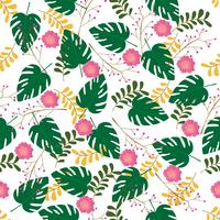 Seamless pattern. Floral and leaves stylish. Vector illustration background