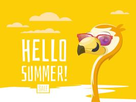 Hello summer banner with flamingo