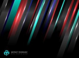 Abstract technology striped oblique blue, red color lines with lighting effect on black background.