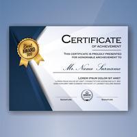 Certificat élégant bleu et blanc de fond de modèle de réalisation