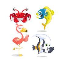 Conjunto de animales, cangrejo, pescado y flamenco.