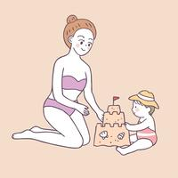 Cartoon cute summer mom and baby playing sand vector.