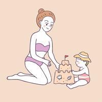 Maman d'été mignon de bande dessinée et bébé jouant le vecteur de sable.
