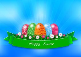 Easter holiday background with eggs and green grass on blue background, vector illustration