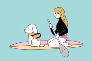Cartoon cute summer woman and dog surfing vector.