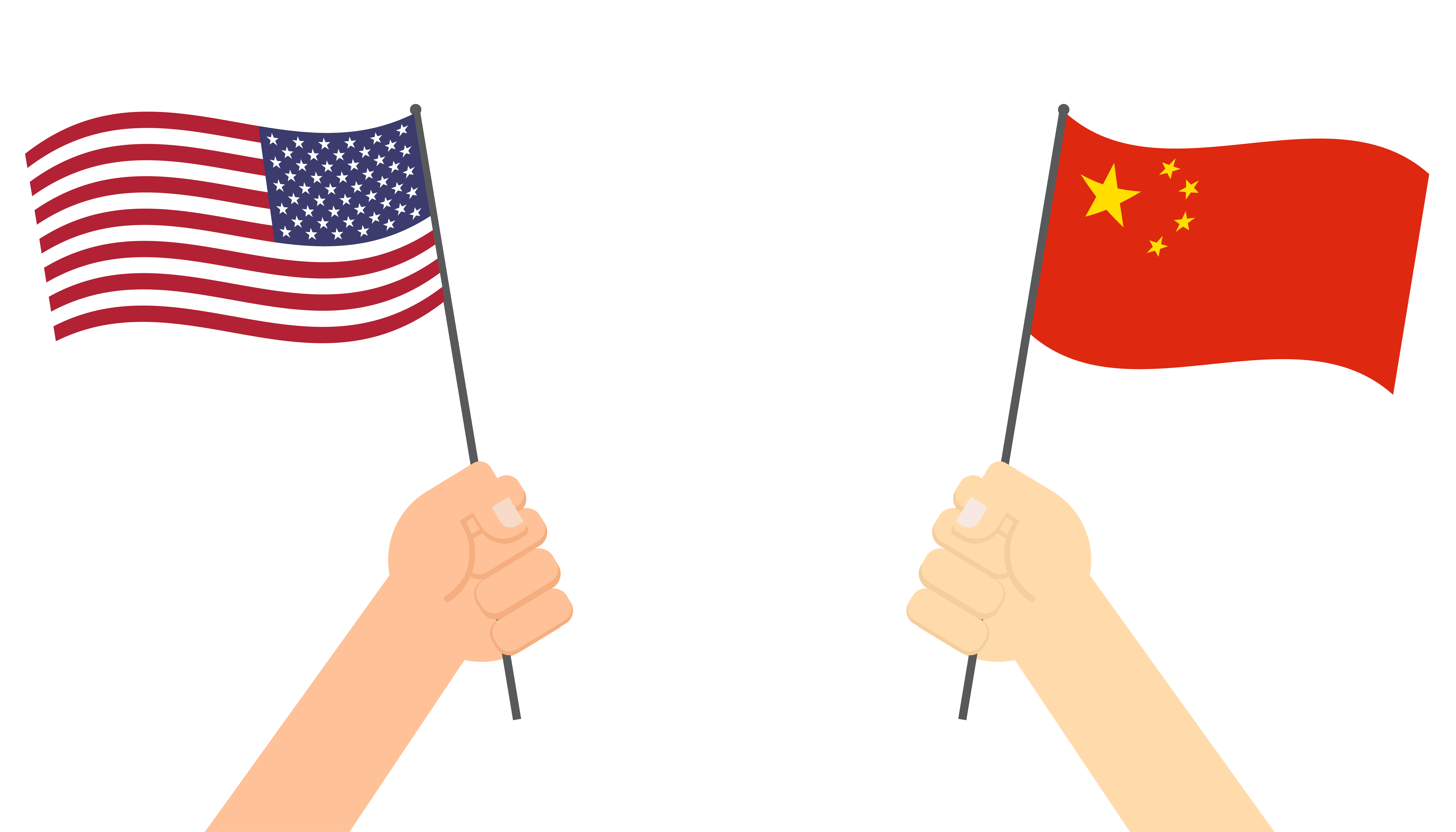 Hands Holding Flag Between Usa And China Face To Face For Competition Vector Illustration Download Free Vectors Clipart Graphics Vector Art